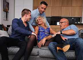 Sexy hairy housewife gets fucked in both holes by three guys and all her boyfriend can do is watch
