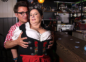 Big breasted German waitress having fun with the beerfesten