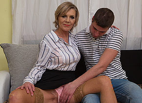 Horny mature lady blows her toyboy and gets fucked hard