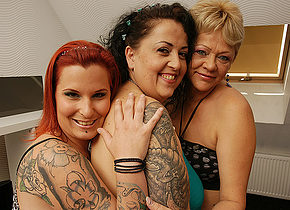 Three old and young lesbians getting wet and wild