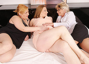 Two mature lesbians take on a pregnant housewife