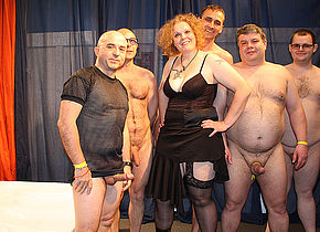 Kinky German housewife in a crazy gangbang