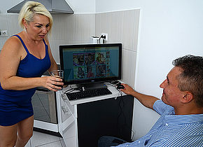 Hot mature housewife fucks her toy boy