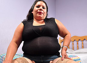 Hairy mature Latina BBW getting very frisky