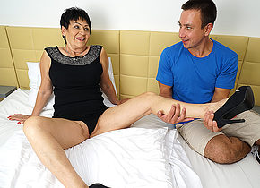 Horny mature lady getting fucked by her toy boy