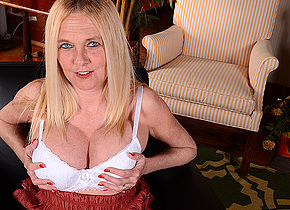 Naughty big breasted American housewife playing alone